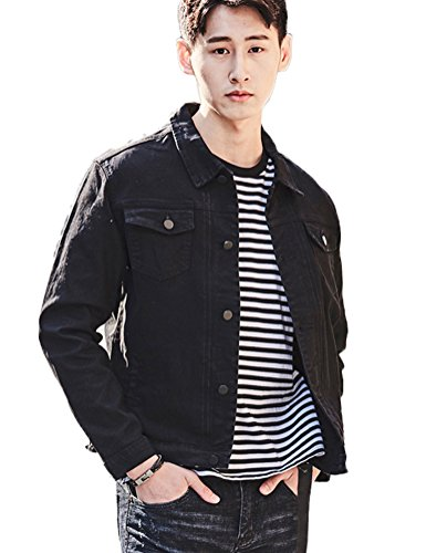 DSDZ Mens Classic Slim Fit Trucker Jean Denim Jacket Coat Black US M(Tag 2XL) by DSDZ
