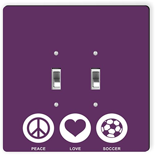 Rikki Knight 42768 Double Toggle Peace Love Soccer Purple Color Design Light Switch Plate by Rikki Knight
