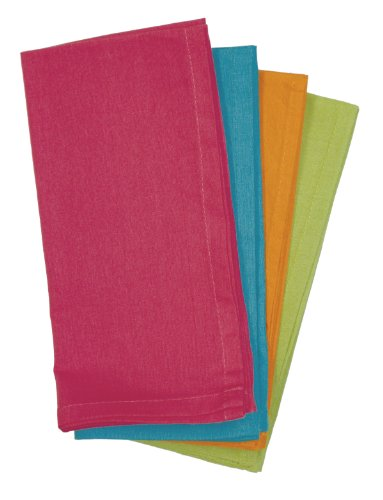 Colonial 5 Piece Dinner - Aunt Martha's Bright Collection Dinner Napkins, Set of 4, Fuchsia, Orange, Lime And Turquoise