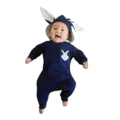 FEITONG Cute Unisex Baby Rabbit 3D Ear Warm Hooded Romper Jumpsuit Clothes (3-6Months, Blue) ()