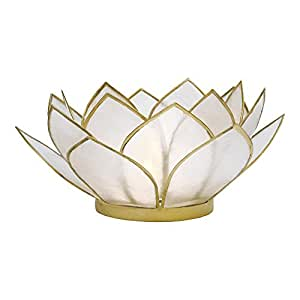 Luna Bazaar 3-Layer Capiz Lotus Candle Holder (2.25-Inch, Nani Design, White , Gold-Edged) - For Use with Tea Lights - For Home Decor, Parties, and Wedding Decorations