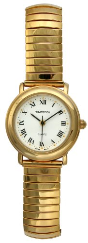 Timetech Women's 14K Gold Plated Stretch Expansion Bracelet Roman Numeral Classic Watch 2652L