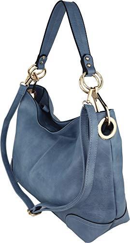 B BRENTANO Large Hobo Shoulder Bag with Snap Hook Hardware (Denim)