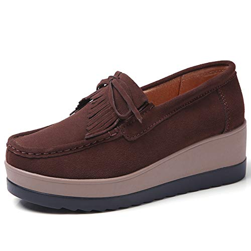 atform Loafers Shoes for Women Comfort Wedge Suede Wide Work Moccasin Sneakers Caffee 8 B(M) US ()