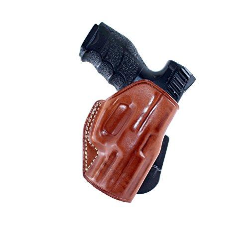 LEATHER PADDLE (OWB) HOLSTER OPEN TOP FOR HECKLER & KOCH, H&K VP9SK 9mm 3.39''BARREL R/H DRAW BROWN - Angle Holster Adjust Paddle
