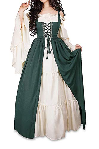 Abaowedding Womens's Medieval Renaissance Costume Cosplay Chemise and Over Dress Dark Green 2X-Large/3X-Large