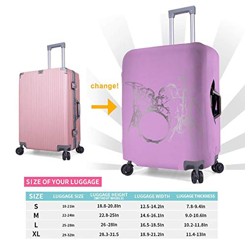 (Travel Luggage Cover Drums 3d Suitcase Protector Baggage Covers With Zipper, Washable M)
