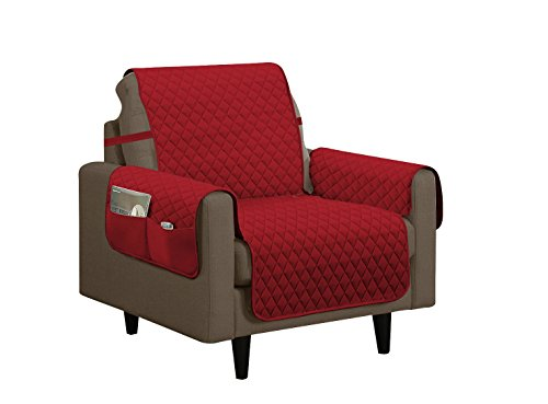 Home Sweet Home Quilted Slip Cover Furniture Protector (Chair, Burgundy) (Sofa Slipcovers Flexsteel)