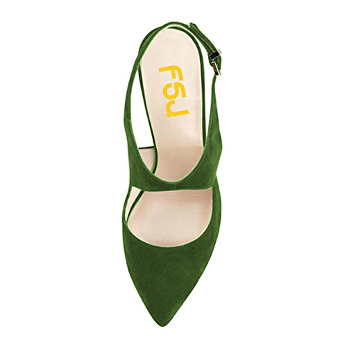 FSJ Women Stylish Stiletto High Heels Sandals Pointed Toe Buckle Pumps Party Prom Shoes Size 4-15 US Olive Green buy cheap browse exclusive cheap price pP5wwV