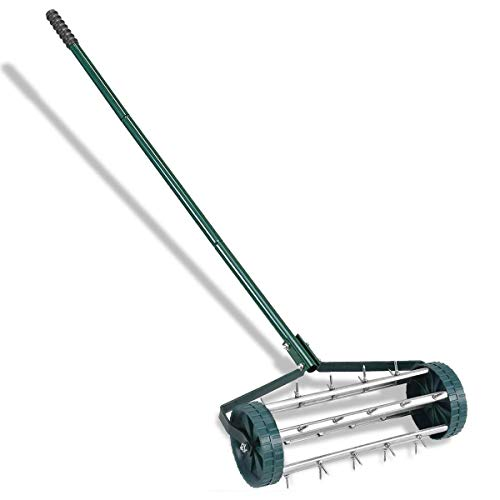 GYMAX. Rolling Lawn Aerator with Non-slip Spiral Handle & Metal Nail, Heavy Duty Rolling Grass Tool for Yard, Garden