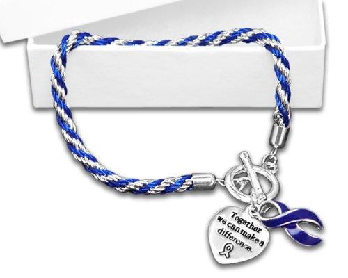 Colon Cancer Awareness Dark Blue Ribbon Bracelet - Rope (Retail)