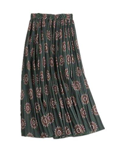 Aoliait Femme Jupe Mi Longue Taille Haute Jupe Plisse Amincissante Jupe Mousseline Vintage Femelle Skirt Lache Jupe Green