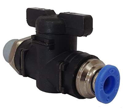 "PneumaticPlus BC-1/4-N1/4 Mini PPS Resin Body Straight Ball Valve 1/4"" OD Tube X 1/4"" NPT, Push-To-Connect (Tube X Male)"