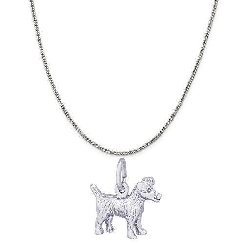 Rembrandt Charms Sterling Silver Jack Russell Terrier Charm on a Curb Chain Necklace, 20