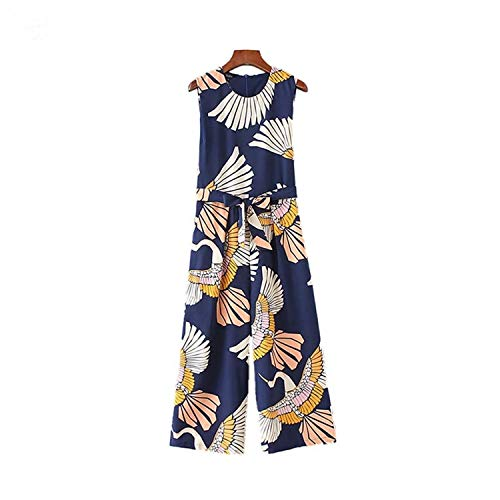 Women Cute Crane Print Jumpsuits Bow tie Sashes Pockets Sleeveless Pleated Rompers Retro Ladies Casual Jumpsuits