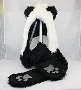HatButik. Panda Animal Hood Faux Fur Hat with Warm Scarf Mittens Ears and Paws Spirit