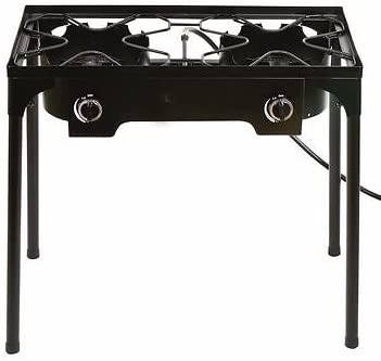 Propane Stove 2 Burner Gas Outdoor Portable Camping Bbq High Pressure Regulator Sports Outdoors