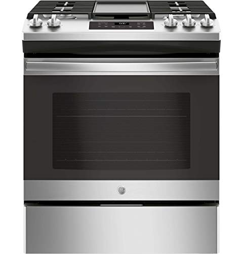 GE JGSS66SELSS 30 Inch Slide-in Gas Range with Sealed Burner Cooktop, 5.6 cu. ft. Primary Oven Capacity, in Stainless Steel (Renewed)