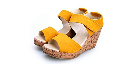 grandi dimensioni piattaforma ShangYiEstate pelle impermeabile di scarpe pendenza pesce Roma piattaforma versione bocca spessa albicocca sandali in coreana del scarpe wTxqUZgT0