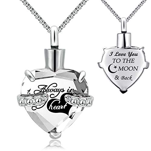 YOUFENG Urn Necklaces for Ashes Always in My Heart Heart Cremation Jewelry Memorial Pendant Birthstone Necklace (April URN)