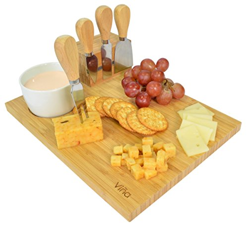 Porcelain Cheese Board (Vina Cheese Cutting Board Knife Set - Includes 4 Piece Cheese Knives and Porcelain Dish, Bamboo Cheese Cutlery Serving Tray, Great as Party Platter for Cheese Lovers)