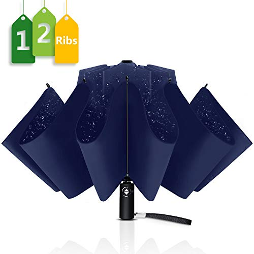 Wsky Inverted Umbrella Windproof with Leather Cover, 12 Ribs Automatic Umbrella Teflon Coating Reverse Umbrella Portable Rain&Sun Travel Umbrella for Men/Women (Blue)