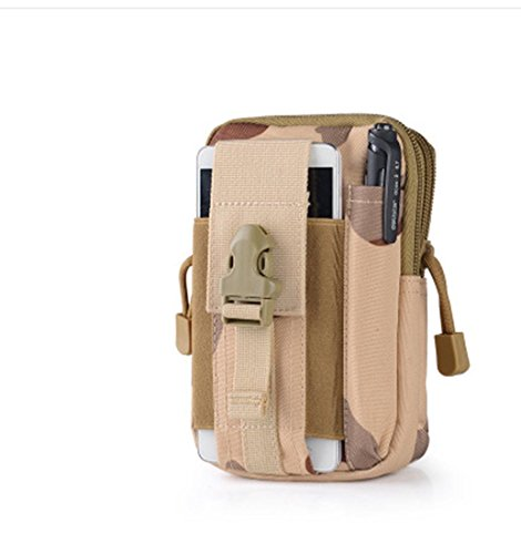 Tactical Molle Waist Bags (Desert Camouflage) Tactical Molle Pouch EDC Utility Gadget Belt Waist Bag Pocket Organizer Cell Phone Holster Holder for iPhone Xs max Samsung Galaxy S9 S8 S7 Huawei Meta20
