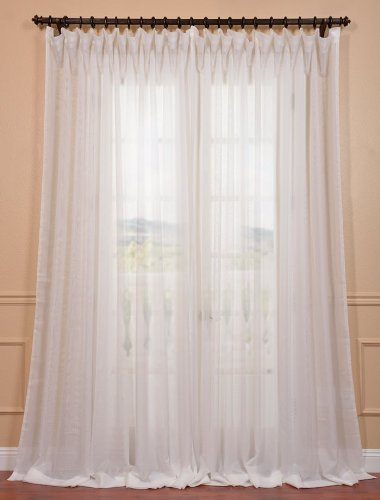 Half Price Drapes SHCH-VOL3-96-DLDW Signature Double Wide Sheer Curtain, Off White