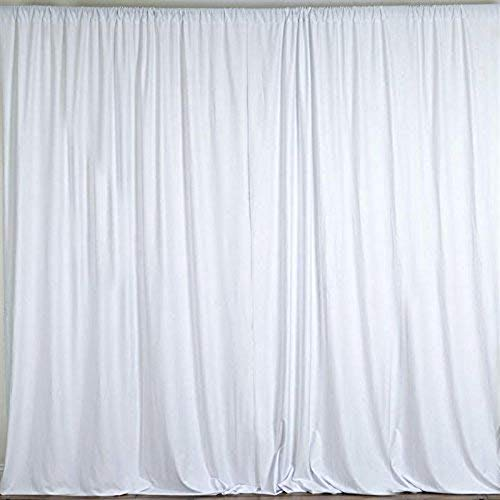 AK TRADING CO. 10 feet x 8 feet Polyester Backdrop Drapes Curtains Panels with Rod Pockets - Wedding Ceremony Party Home Window Decorations - White -