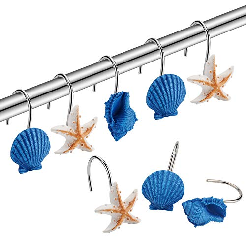 Amazer Shower Curtain Hooks Rings, Metal Decorative Resin Hooks Shower Curtain Rings for Bathroom Shower Rods Curtain and Liner, Starfish,Shell and Fish, 12 PCS