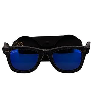 Ray-Ban RB2140 Denim Wayfarer Sunglasses Black Jeans w/Blue Mirror Lens 11968 RB 2140
