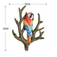 XUYRENP American Style Creative Home Wall Coat Hook No Trace Wall Hanging Decoration Solid Branch Parrot Key Hook