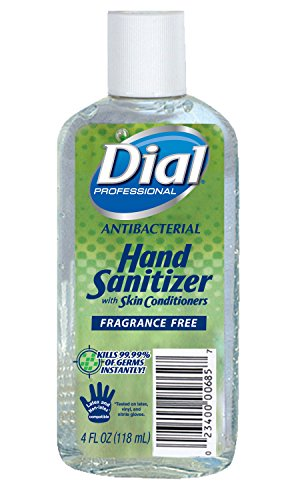 Dial Gel Hand Sanitizer Fragrance-Free with Moisturizers, Flip Top Cap, 4oz (Pack of 24) ()