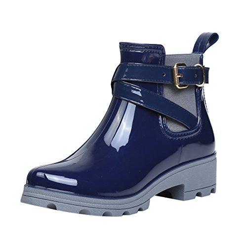 YE Damen Chelsea Boots Flache Gummistiefel Wasserdicht Ankle Boots mit Schnallen Bequem Schuhe Blau