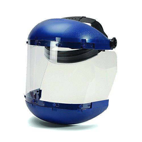 Face Shield Window - Sellstrom S38140 Blue Plastic Crown/Chin Guard and Clear Anti-Fog Window Protective Face Shield with Ratchet Headgear