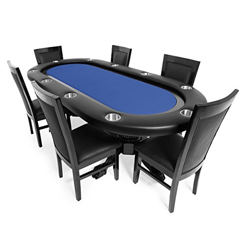 BBO Poker Elite Poker Table for 10 Players with Blue Felt Playing Surface, 94 x 44-Inch Oval, Includes 6 Dining ()