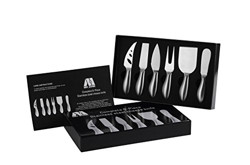 Premium 6-Piece Cheese Knife Set - M MH ZONE Complete Stainless Steel Cheese Knives Collection,Perfect Christmas Gift (Stainless Steel Cheese Knife)