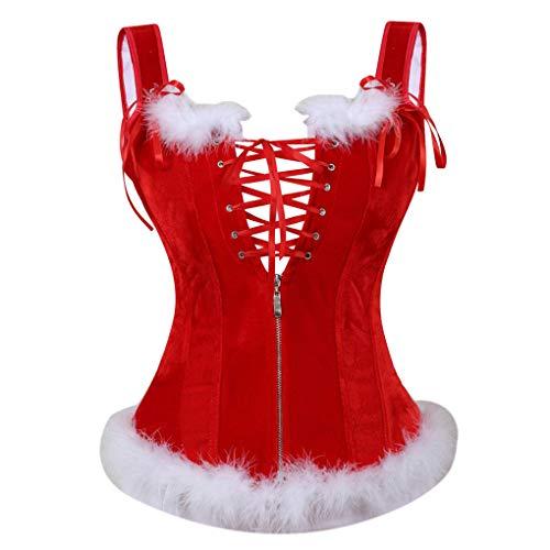 Women's Mrs Santa Claus Costume Christmas Corset Bustier Lingerie Top Valentines with Garter Belt Red 6XL ()
