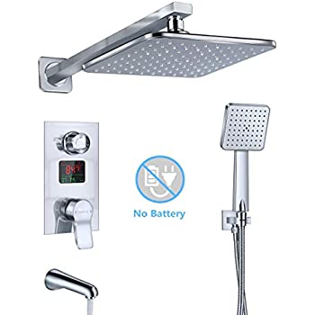Uythner Wall Mounted Brushed Nickle Shower Column Shower Panel W/ Hand Shower Jets Tub Plate Shower Faucet Mixer Tap Shower Faucets