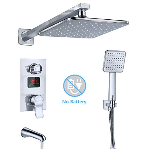 Derpras Luxury Shower System with Temperature Display, Wall Mount Shower Faucet Set with Rainfall Shower Head, Handheld Shower and Tub Spout Faucet, Chrome Finish