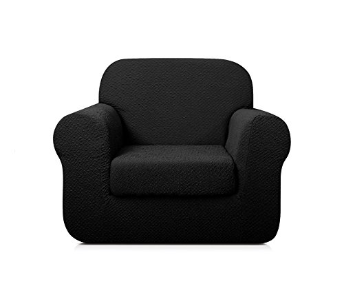 TOYABR 2-Piece Seersucker Jacquard Stretchy Fabric Dinning Room Sofa Slipcovers Fitted Sofa Protector (Chair, Black) (Chairs Room Dining Sears)
