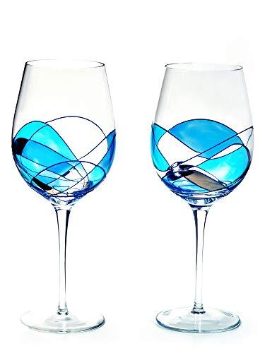 (Large Wine Glasses 29Oz BLUE & SILVER SET 2 ANTONI BARCELONA)