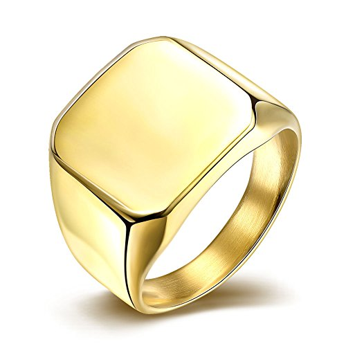 [YITAO Mens 17mm Classic Gold Wedding Engagement 316L Stainless Steel Ring Square High Polished Band Size] (Custom Snake Eyes Costumes)