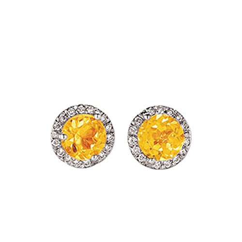 And Earrings Diamond Citrine (0.50 Carat (ctw) 14K White Gold Round Yellow Citrine & White Diamond Ladies Halo Stud Earrings 1/2 CT)