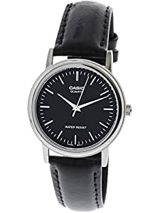 Casio Men's Black Dial Leather Band Watch - MTP-1095E-1ADF