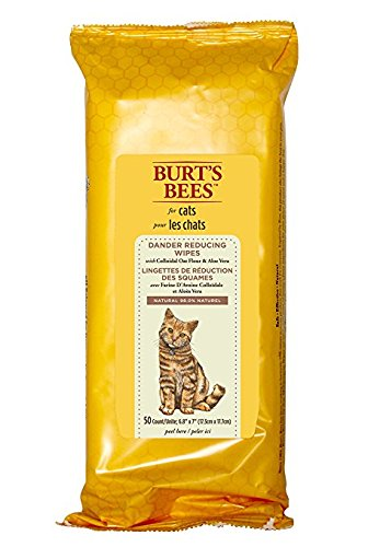 Burt's Bees for Cats All-Natural Dander Reducing Wipes | Best Grooming Wipes for All Cats and Kittens, 50 count