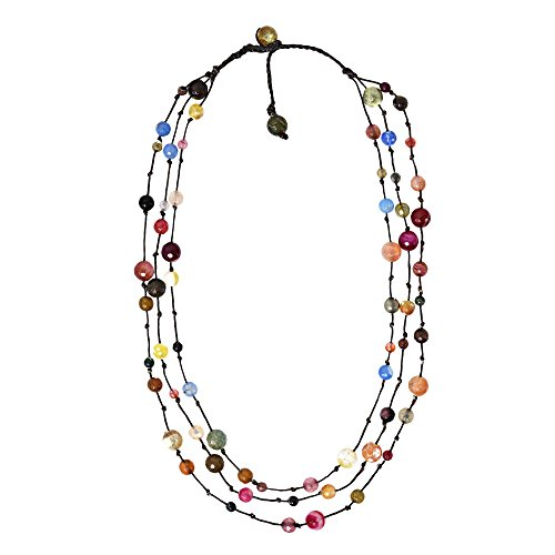 (AeraVida Multi Stone Triple Layer Floating Bubble Cotton Wax Rope Strand Necklace)