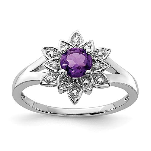 925 Sterling Silver Diamond Purple Amethyst Band Ring Size 9.00 Gemstone Fine Jewelry Gifts For Women For Her