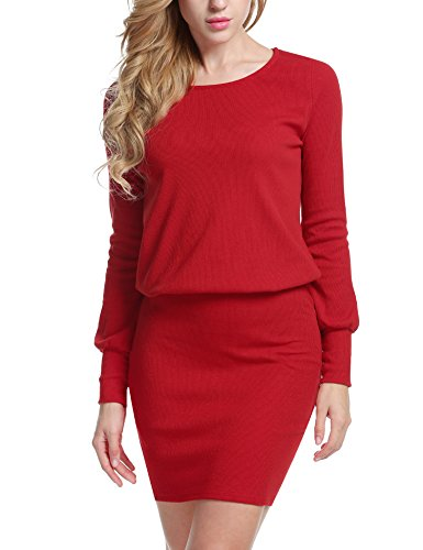 ACEVOG Women's Sexy O-Neck Long Sleeve Basic Knit Sweater Bodycon Midi Dress (Large, Red)