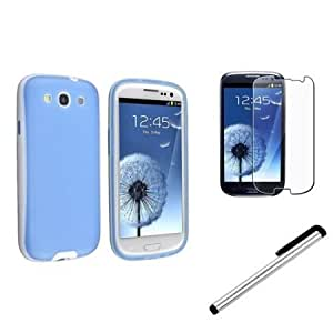 Cerhinu eForCity Blue/White TPU Gel Case+Clear LCD Cover+Stylus Compatible with Samsung? Galaxy SIII S3 i9300